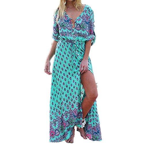 Xiahbong Frauen Blumen Druck Strand Partei böhmisches Maxi Kleid drei Viertelhülse (3XL, Grün) (Kleid Pullover Rosette)