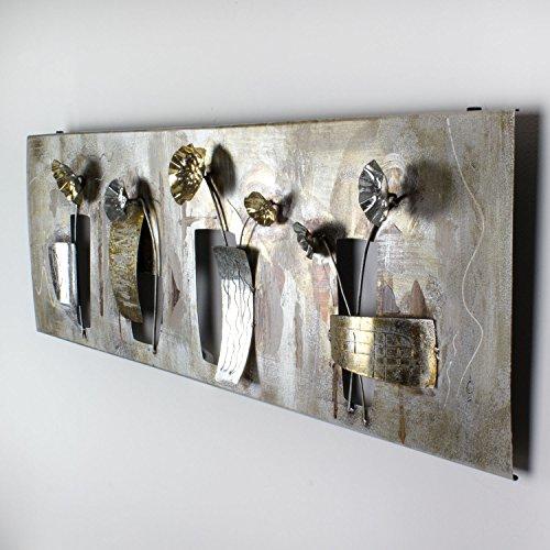 mosa designs 3D Metallbild Wandbild Blumen Gold Wanddeko 120x40cm