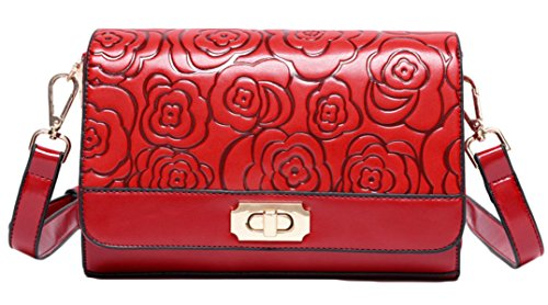 Roses Mme Messenger Sac Fashion En Relief red