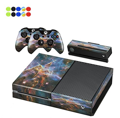 Skin for XBOX ONE - Morbuy Vinyl peau Protective Autocollant Decal Sticker pour Microsoft XBOX ONE console + 2 Autocollant Manette et 1 autocollant Kinect Set + 10pc SiliconeThumb Grips (Volcanique)