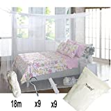 #9: Yuauy Mosquito Net For Double Bed Canopy Insect Protection Repellent Repels Insects Carrying Malaria & Diseases - Home or Travel Use with Hanging Kit( 9 pcs hooks&plugs, 18m rope)
