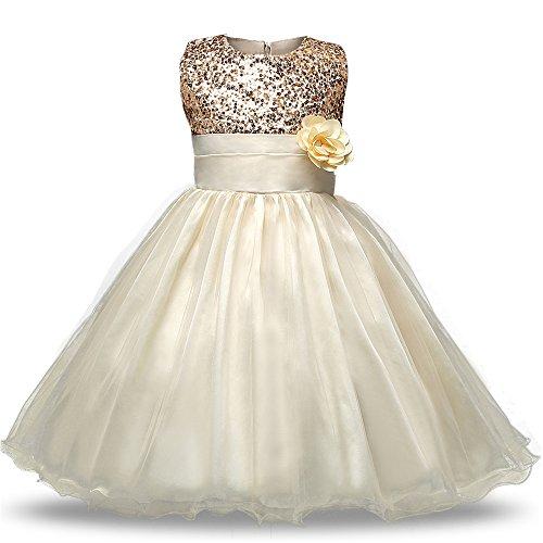 en Ärmellos Fancy Kostüm Kleid Blume Rock Sommer Sequins Kleider Kleinkinder Prinzessin , Beige (J Kostüme Für Fancy Dress)