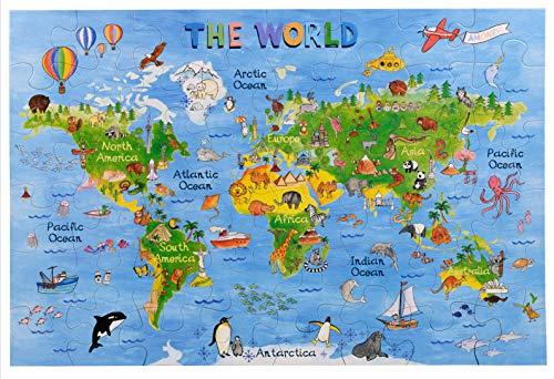 Amagenius Rompecabezas diseño Mapa Mundo Mesa Suelo