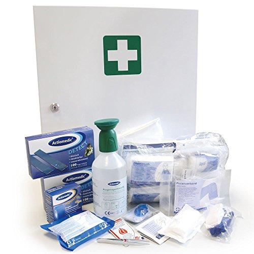 Professioneller Erste-Hilfe-Schrank, Medizin-Schrank, Premium-Metall-Verbandschrank in weiß für die Lebensmittelindustrie, befüllt gemäß DIN 13157, günstig
