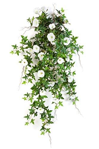 artplants Set 2 x Deko XXL Petunien-Hänger, weiß – Gelb, 95 cm – Künstliche Petunien/Kunstblumen