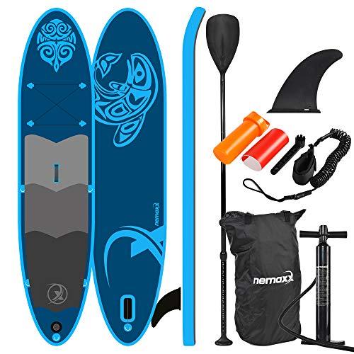Nemaxx PB330 Stand up Paddle Board 330x76x15cm, blau - SUP, Surfbrett, Surf-Board - aufblasbar & leicht zu transportieren - inkl. Tasche, Paddel, Finne, Luftpumpe, Repair Kit, Fuß-Leine