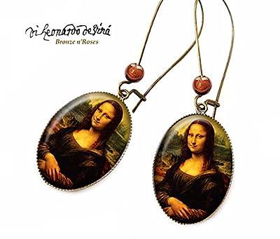 Boucles d'oreilles * La Joconde * bijou rétro Léonard de Vinci peinture verre