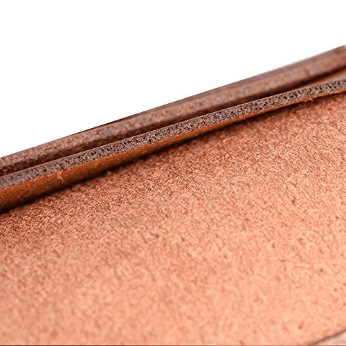 Skitic Long Design Multifunzione Chiusura Magnetica Custodia Borsa Portafoglio, Grande Capacità Handmade Liscio Microfiber Wallet with Card Slots Holder Case Borsetta per iPhone 5 / 5S / 6 / 6S / 6 Pl Marrone Chiaro
