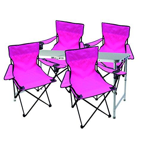 Mojawo 5tlg. Juego de Muebles de Camping (Aluminio 120x 60x 58/70cm, 1x XXL Mesa de Camping Regulable con asa + 4sillas Plegables sillas Rosa Pesca con Funda