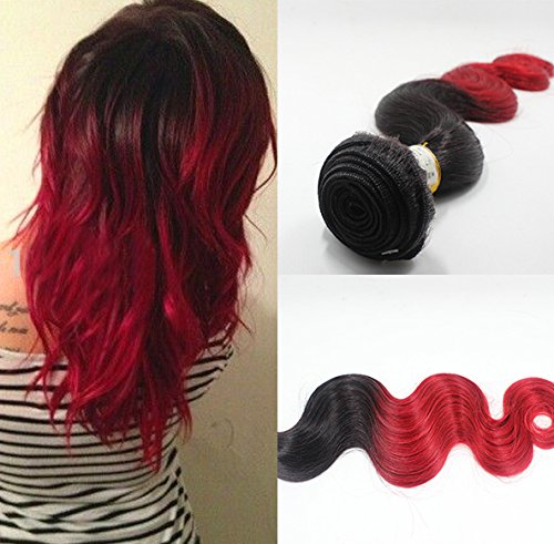Romantic Angels Tissage Bresiliens Ondules Body Waves-Cheveux Vierges 40cm 100g/Bundle, Couleur#1b/rouge
