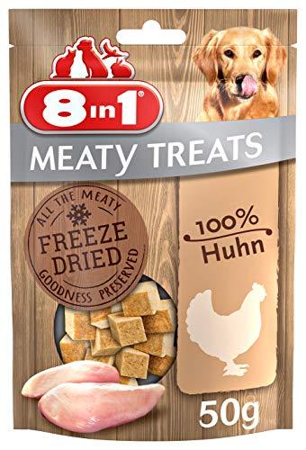 8in1 Meaty Treats, gefriergetrocknete Hunde Leckerlis aus Huhn, 100% Fleisch, getreidefrei und ohne Zucker (1 Beutel, 50 g) -