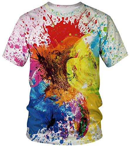 Ocean Plus Unisex Rundhals Sportswear T-Shirt Kostüm mit Aufdruck Fasching Größen S-3XL Tops mit Kurzarm (S (Referenzhöhe: 155-160 cm), Bunte Tinte)