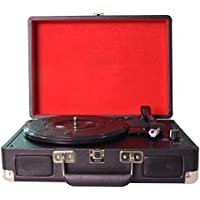 DIGITNOW! Three Speeds Turntable Retro Record Player with Built-in Stereo Speakers, Supports USB / RCA Output / Headphone Jack / MP3 / Mobile Phones Music Playback,Suitcase Design