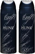ARIS HUNK DEODORANT BODY SPRAY FOR MEN COMBO (PACK OF 2, 200 + 200 = 400 ML.)