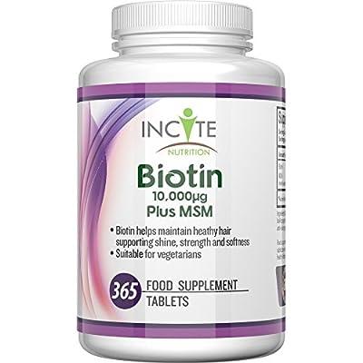 Biotin + MSM Haarwachstums-Vitamine Nahrungsergaenzung fuer Haarausfall Beste Schoenheitsanwendung 10000MCG Biotin + 250mg MSM (365 Tabletten - Keine 5000MCG Kapseln) GELD-ZURÜCK-GARANTIE Hergestellt in UK - 6 Monate + Vorrat für Männer und Frauen