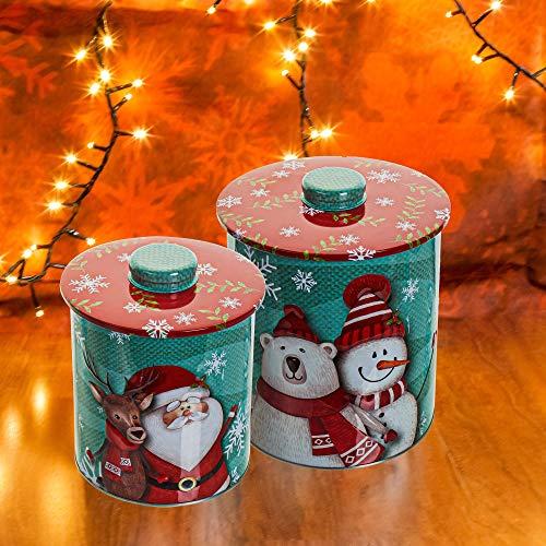 pille gartenwelt 2er Set Metall Keksdosen Weihnachten Schneemann Weihnachtsmann Rentier Eisbär XL Metall Gebäckdosen Set Blech