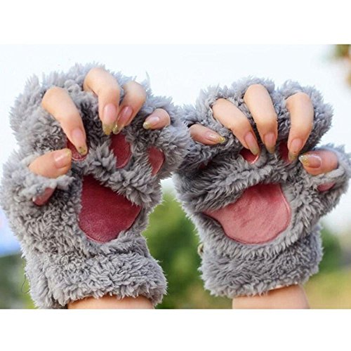 1 Paar Nette Fingerlose Pfote Plüsch Handschuhe von MAXGOODS, Katze Bär Paw, aus Künstlich Faux Pelz für Frauen Damen - Grau