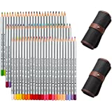 NIUTOP 72 Couleurs Crayons de Couleur Fournitures Crayons d'art Marco Raffine Serti de Toile Roll Up Sac de Crayon pour la Peinture, Coloriage, Dessiner ou Colorier