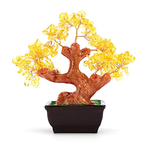 RanDal Money Wealth Tree Feng Shui Lucky Rich Tree Natural Pretty Crystal Gem Tree Room Decorations - Gelb
