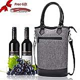 Kato Isolierte Wein Tasche – Travel, Gepolstert, 2 Flasche Wein/Sektkühler Carrier Griff und Schultergurt +Gratis Korkenzieher