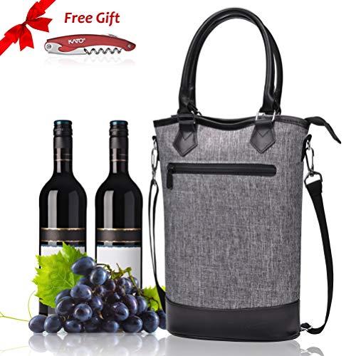 Kato Isolierte Wein Tasche - Travel, Gepolstert, 2 Flasche Wein/Sektkühler Carrier Griff und Schultergurt +Gratis Korkenzieher -
