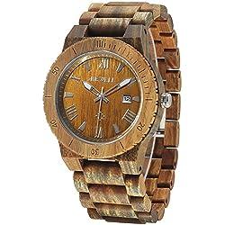 Alienwork Quartz Watch natural solid wood Wristwatch Handmade Green sandalwood green green UM109B-03
