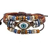 Real Spark Moda Vintage Triple Abalorios Strands Mystic eye colgante Tribal Leather Wrap pulsera