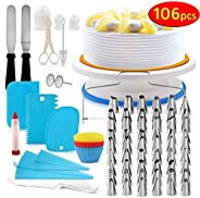 Cake Decorating Kit, 106 PCS Baking Supplies With 11 Inch Cake Turntable, cake sculpting tools Icing Tips, Cak