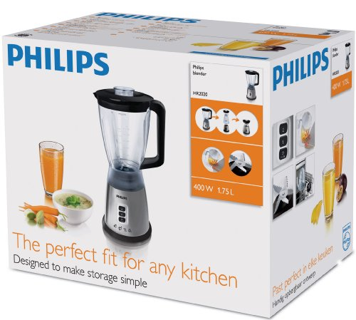Philips HR2020/50 Jug Blender, 1.75 L, 400 W – Silver