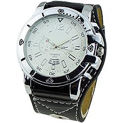 Men's Fashion Oversized Dial Quartz Steel Wrist Watch Black Strap & White Dial