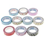 #10: MagiDeal 10 Pieces Assorted Color Washi Tape Paper Masking Crafts Adhesive Tape for Decoration Scrapbook DIY