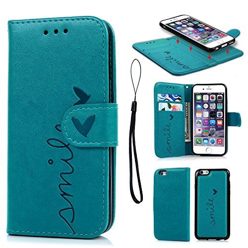 Geniric Handy Hülle für iPhone 6S 6 Leder Flip Wallet Cover Stand Case Card Slot Leder Tasche Karteneinschub TPU 2 in 1 Combo Karteneinschub Magnetverschluß Kratzfestes (Blau Liebe)