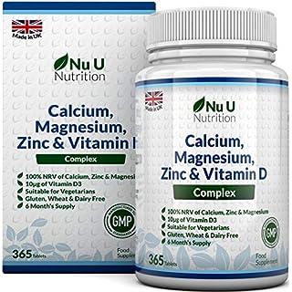 Calcium, Magnesium, Zinc & Vitamin D Supplement | 365 Vegetarian Tablets | 6 Month Supply of Nu U Nutrition Osteo Supplement