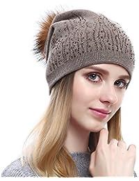 VEMOLLA Cappello Invernale Berretto di Cashmere per Le Donne con PON PON in Pelliccia  di Procione e25c195f1fcb