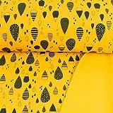 Softshell Stoff Regentropfen gelb 100% Wasserdicht - Preis