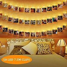 Fantastisch 50 LEDs Foto Clips Lichterketten,SanGlory 7.5M LED Fotolichterkette  Warmweiß 8 Modi Clip Bilder