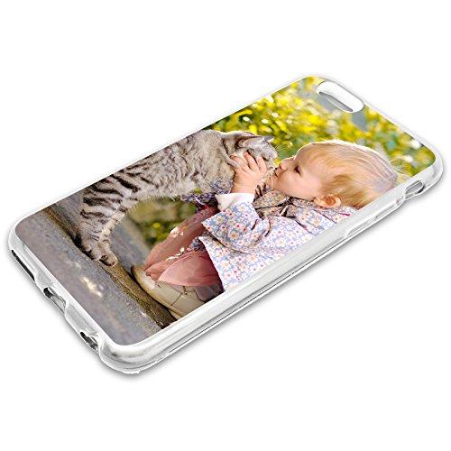 Premium Handyhülle für Apple iPhone-Serie selbst gestalten mit eigenem Foto und Text * Bild Cover Kappe Schutzhülle, Hülle:Slim-Silikon / Transparent, Handymodell:Apple iPhone 7 Plus