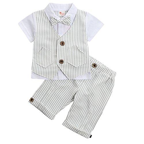G-Kids Baby Jungen 2-Teiliges Strampler Smoking Gentleman Anzug Kurzarm Streifen Outfits Sommer Kleidung Jumpsuit Spielanzug Taufkleidung mitFliege (Weiß, 100/2-3 Jahre)