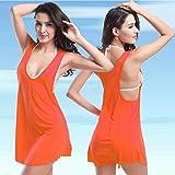 HuntGold Dame Frauen Freizeit Ferien Beliebte Seaside Beach Bikini Außerhalb Kittel Weste Sommerkleid Rock orange (Einheitsgröße)