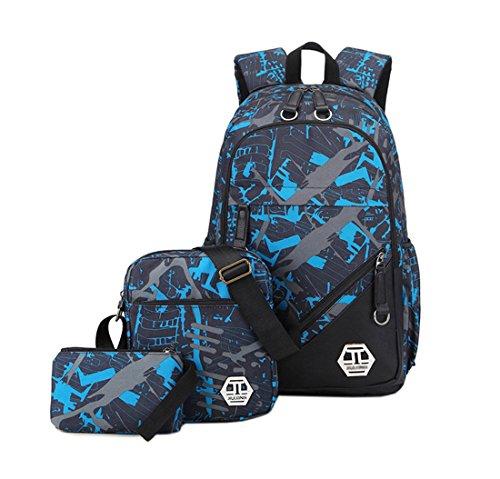 Mocael Rucksack-Set 3-tlg Leinwand Schulrucksack Jungen Rucksack Schultasche mädchen Daypacks Laptoprucksack wasserdicht Schulranzen schoolbag Herren Backpack 15 (Blau)