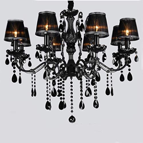 Kronleuchter American Black Crystal Kronleuchter Europäischen Wohnzimmer Vintage Schmiedeeisen Esszimmer Schlafzimmer Kerze Kronleuchter A + (Farbe: mit Lampe Cover-8 Kopf) -