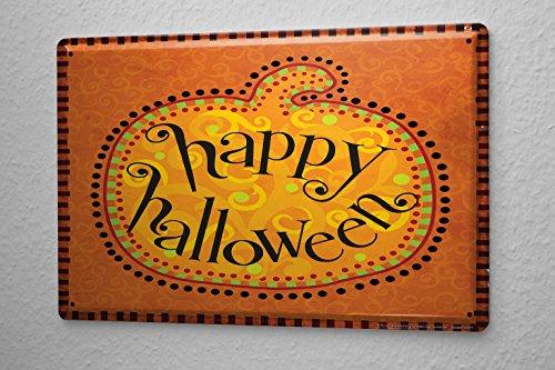 Blechschild Retro Kürbis Happy Halloween Metall Wand Deko Schild 20X30 (Happy Schild Halloween)