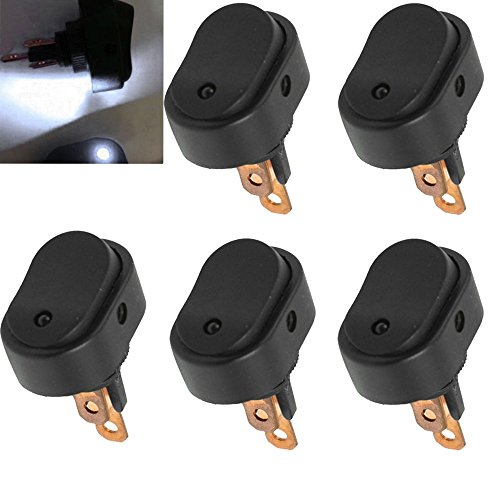 Supmico 5 X 12V 30A Auto KFZ Schalter Weiß LED Licht Lampe EIN/AUS Wippenschalter Kippschalter 3-polig - 30a Kippschalter