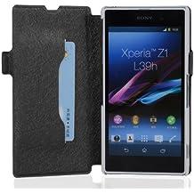 Cadorabo - Funda Book Style en Diseño FINO para Sony Xperia Z1 (L39h) - Etui Case Cover Carcasa Caja Protección con Tarjetero y Función de Soporte en NEGRO