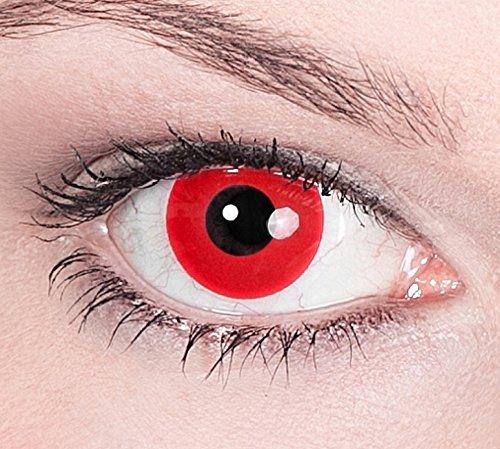 Preisvergleich Produktbild 1 Paar Farbige Kontaktlinsen Red Devil Rot deckend - Weiche Tageslinsen - Ohne Stärke - Halloween Karneval Party Motivlinsen Vampir