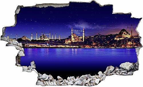 DesFoli Istanbul Türkei Land 3D Look Wandtattoo 70 x 115 cm Wanddurchbruch Wandbild Sticker Aufkleber C035 (Land-wand-dekor-aufkleber)