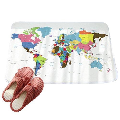 LvRaoo Fußmatte für Außen und Innen Rutschfest Karte gedruckt Teppiche Läufer Fußabtreter Fußabstreifer (# 4, 80 * 50cm)