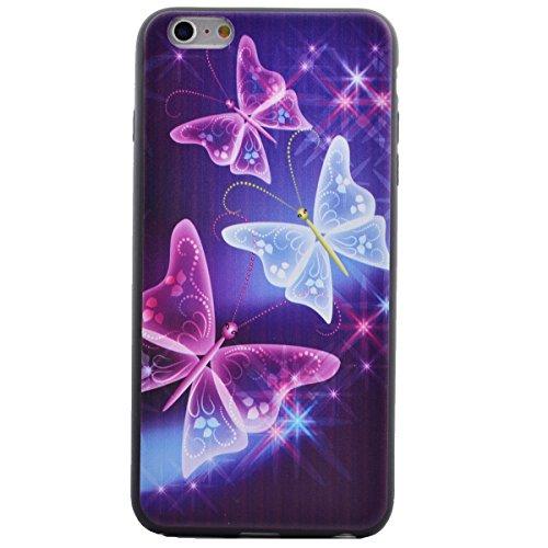 Felfy Hülle für iPhone 6,iPhone 6S Case Crystal Hülle Klare Ultradünne Silikon Gel Schutzhülle Durchsichtig Muster Kristall Transparent TPU Silikon Schutz Handy Hülle Case Tasche Etui Bumper für Apple Eleganter Schmetterling