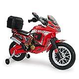 Motorrad in Rot 6V für Kinder ab 3 Jahren mit Stützräder und Koffer HONDA Africa Twin Red
