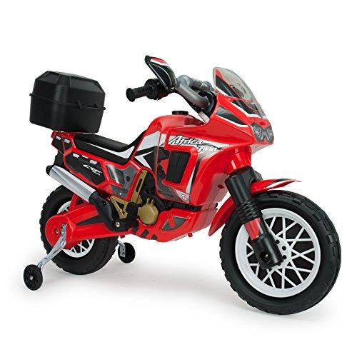 INJUSA - Moto Honda Africa Twin a batería 6V para niños de 3 años con Maleta portaequipaje, roja (6827)